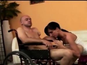 Young brunette beauty Zsofia sucks off wheelchair perv