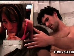 African babe sucks and humps white big dick