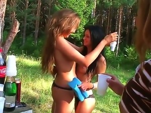 These teen sluts decided to go into the woods for some camping. They then...