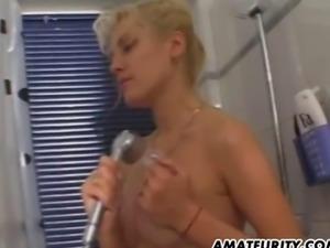 Busty amateur girlfriend sucks and fucks in the bathroom