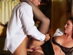Ginger secretary in stockings cumshot by boss