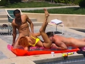 Two busty porn sluts fucked outside by the pool