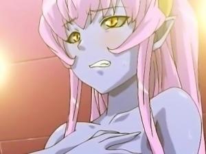 3d anime girl fucking dick gets jizzed on big tits