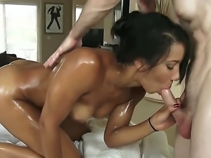 Sophia Fiore stars in an oil porn where she gets her body all oiled up and...
