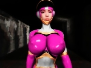 Big boobed anime hero super hot in tight costume