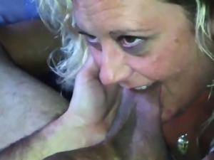 Blonde Wife Sucking On His Sack And Cock
