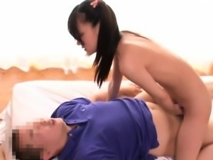 Japanese cutie Mikako sucks and rides her hairy twat on cock