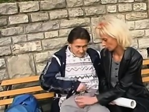 Mature Whore Strokes On A Cock Outdoors