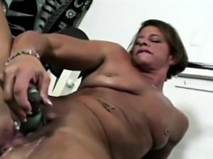 Black Gym MOM rubbing pussy