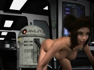 3D cartoon Princess Leia getting toyed by R2D2