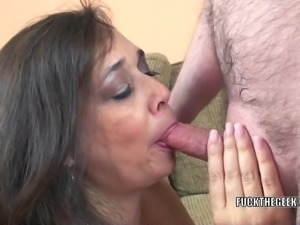Busty housewife Alesia Pleasure is swallowing a stiff cock