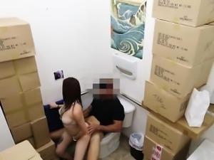 Teen pawnshop latina facialized in bathroom
