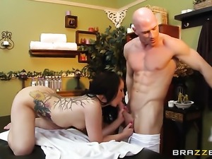 Casey Cumz getting throat fucked silly by Johnny Sins after she gets her...