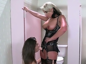 The boss wonders of to the bathroom only to discover her employee...