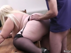 Busty blonde secretary pleases boss