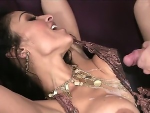 Sexy milf Sara Jay sticks her big tits together so they could get cumshot....