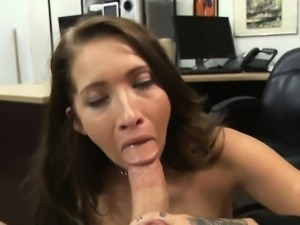 Gorgeous Brunette Amateur Gulps Dick In Pawn Shop