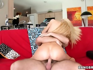 Attractive gal Emily Kae with small tities and hairless pussy sucks dudes...