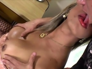 Blonde Ladyboy Leticia loves anal