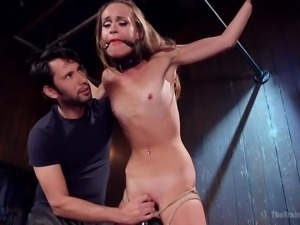 helpless babe gets trained for bdsm activities