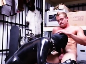 I fuck him with my leather outfit