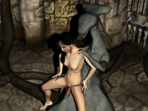 Sexy 3D cartoon brunette getting fucked by a monster