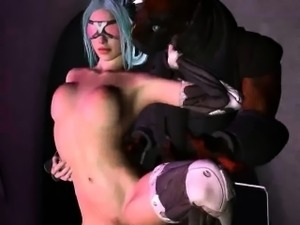 Blue haired 3D cartoon babe gets fucked by a monster