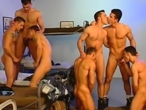 Group of Army hunks sucking cock and jerking off