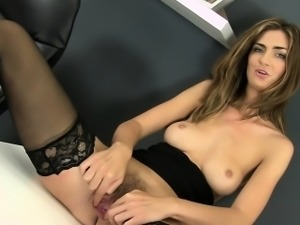 Piss play for hot babe in stockings and heels