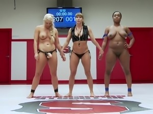 busty ladies wrestling in the arena