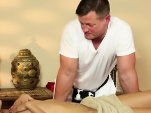 Very tricky massage room of sleek masseur
