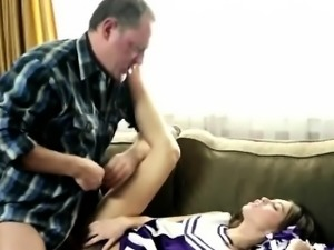Sweet cheerleader pleases her stepdaddy with a blowjob
