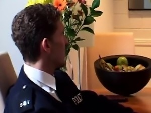 Horny cops team up to fuck a horny blonde housewife