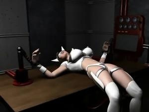 Hottie 3D hentai slave gets tied up