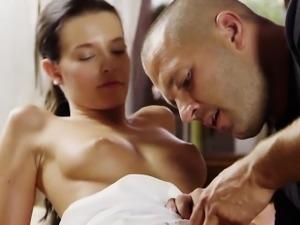 Erotic girl gapes narrowed vagina and loses virginity
