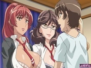 Three big titted hentai babes gets fucked
