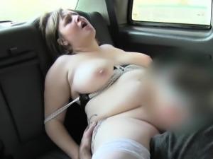 Busty English bbw fucks in fake taxi