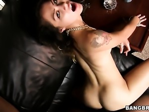 Brunette gets rammed the way she loves it in interracial sex action