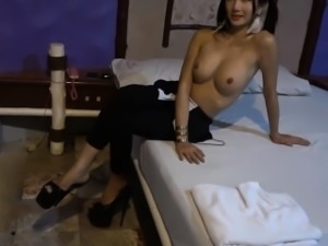 Huge tits ladyboy girlfriend blowjob and ass fucking