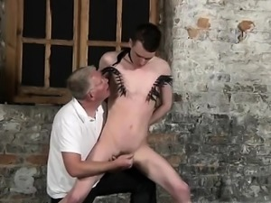 Gay macho sex first time With his delicate pouch tugged and