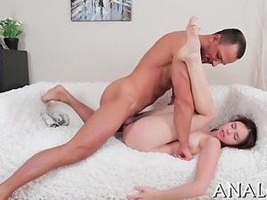 Hot babe gets a lusty thrashing for her luscious anal canal