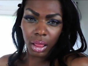 Yummy black TS Vixen Coxx trades nasty blowjob with a stud