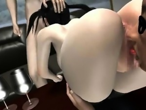 Busty animated gets mouth and cunt fucked