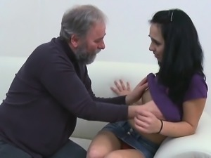 Beautiful young sweetheart gets seduced by a old fucker