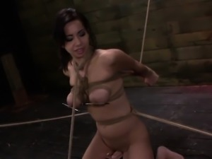 Tied up bdsm slut gagging