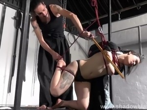 Japanese spanking and asian suspension bondage of oriental kimono submissive...
