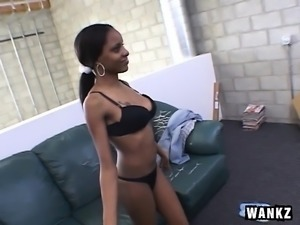 Beautiful black teen working her mouth and her peach on a white cock