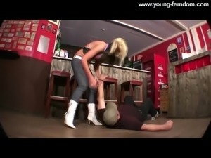 Young Amateur Mistress with blond Hair in Boots - Femdom, Tr