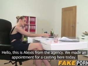 Sexy brunette agent gets fucked by camermans big fat cock