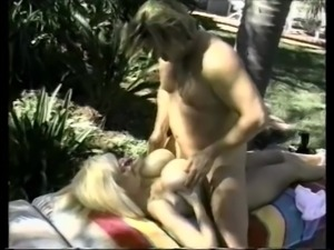 Massive vintage boobs oil up for pool man